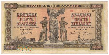 Grecja - 5 000 drachm (1942)