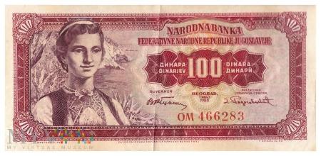 Jugosławia - 100 dinarów (1955)