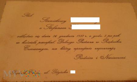 zaproszenie na ślub Prądnik Czerwony 1937