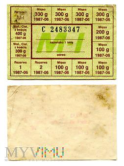 Duże zdjęcie Kartka żywnościowa M-I, czerwiec 1987 (C 2483347)