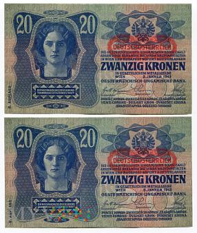 Austria - 20 koron, 1913r. UNC Parka