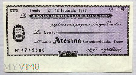 Duże zdjęcie Włochy miniassegno na 100 lirów