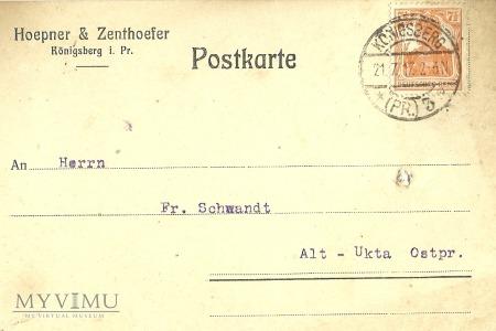 Hoepner & Zenthoefer Konigsberg 1917 r.