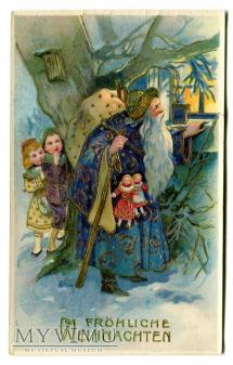 Święty Mikołaj w niebieskim stroju pocztówka
