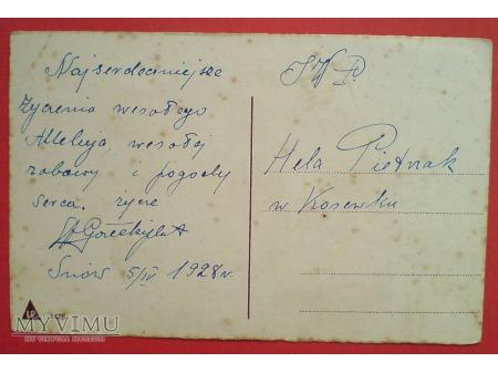 1928 Wielkanoc polska pocztówka kurczaczki książka