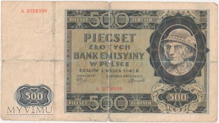500 złotych 1 marca 1940 rok seria A