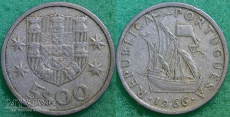 Portugalia, 5 ESCUDOS 1966