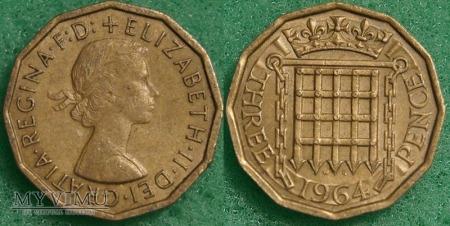 Wielka Brytania, THREE PENCE 1964