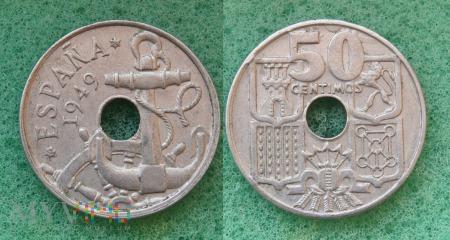 Hiszpania, 50 centów 1949