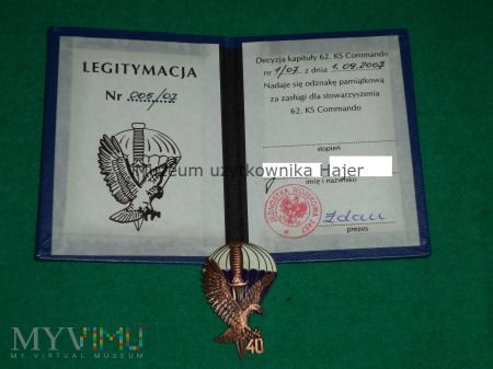 Duże zdjęcie 40 lat 62 KS Commando odznaka legitymacja nadanie