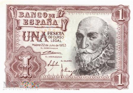 Hiszpania - 1 peseta (1953)