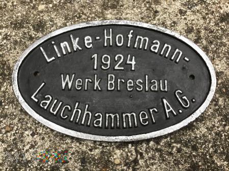 Tabliczka LINKE HOFMANN z 1924 roku