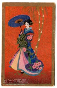 Duże zdjęcie Adolfo Busi ART DECO Japonka 1931 złocona kimono