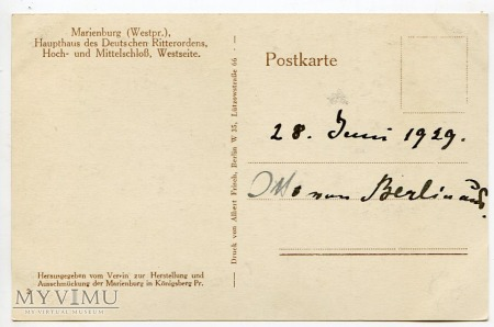 Malbork Marienburg - Zamek Krzyżacki 1929