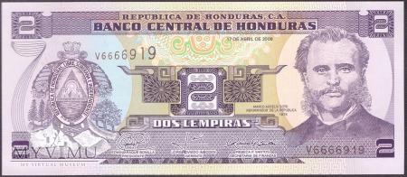 Honduras, 2 LEMPIRAS 2008r
