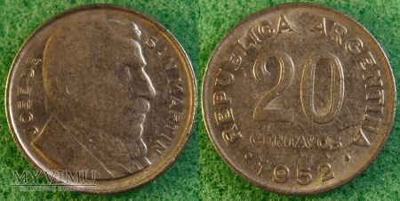 Argentyna, 20 centavos 1952