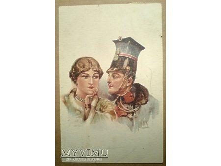 Ułan z dziewczyną ca. 1921 Wojsko Polskie