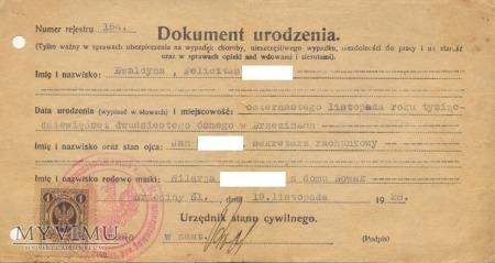 Duże zdjęcie Dokument urodzenia Brzeziny Śl. 1928