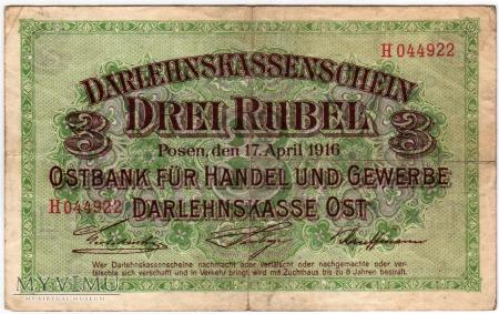 17.04.1916 - 3 Ruble - Poznań