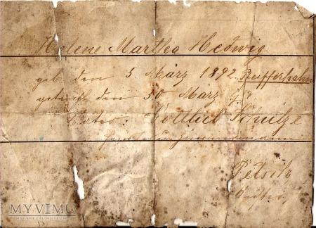 Dokument 1892 r.