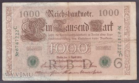 Niemcy, 1000 marek 1910r. Ser.C