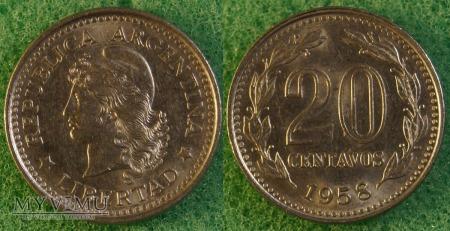 Argentyna, 20 centavos 1958