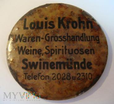 plakietka reklamowa Louis Krohn, Swinemünde