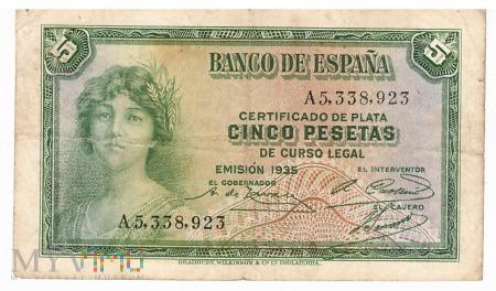 Hiszpania - 5 peset (1935)