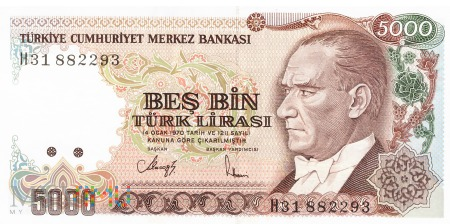 Turcja - 5 000 lir (1994)