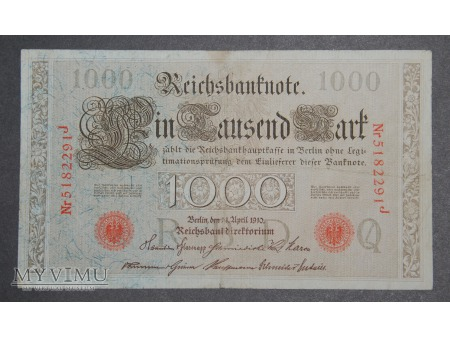 REICHSBANKNOTE 1000 Mark, 1910 r.