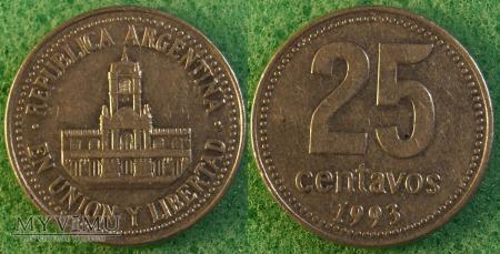 Argentyna, 25 centavos 1993