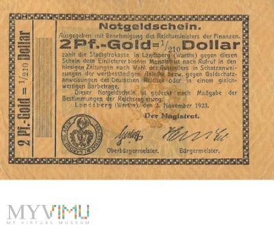 2 Pf.-Gold=1/210 Dollar Landsberg a.d Warthe