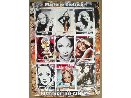 Duże zdjęcie Marlene Dietrich Kongo 2003 Blok znaczki