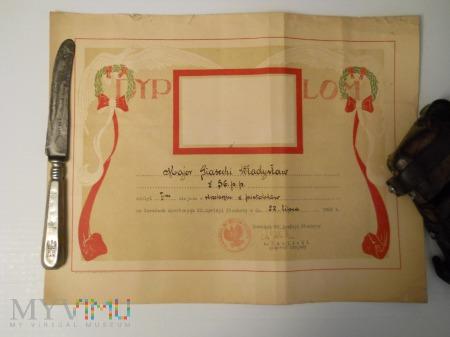 Dyplom za strzelanie z pistoletów 56 pp