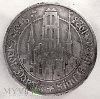 Duże zdjęcie 5 guldenów 1923 r. Wolne Miasto Gdańsk