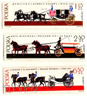 3 znaczki z powozami konnymi (Łańcut)