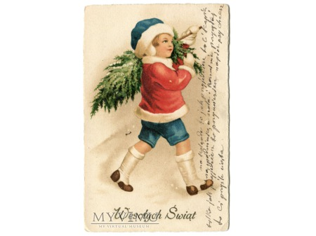 Wesołych Świąt Chłopiec z choinką c. 1930