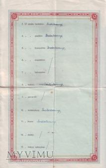 Świadectwo dojrzałości 1925 rok - Wągrowiec