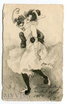 Duże zdjęcie 1900 Arlekin i Kolombina odstawiają kankana