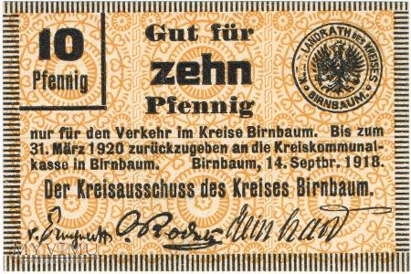 Notgeld -Pieniądz zastępczy 10 Pfennig Birnbaum