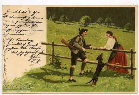 Dachshund - Jamnik myśliwy (zaloty) - 1901
