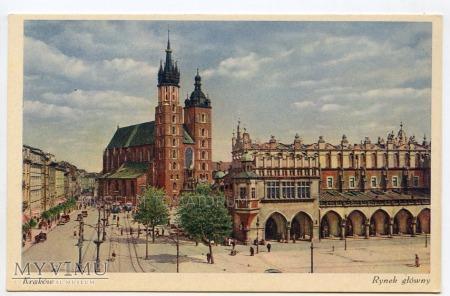Kraków - Rynek - Kościół Mariacki - lata 30-te
