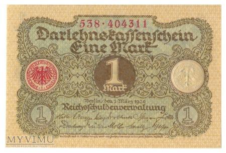 Niemcy (Darlehnskassenschein) - 1 marka (1920)