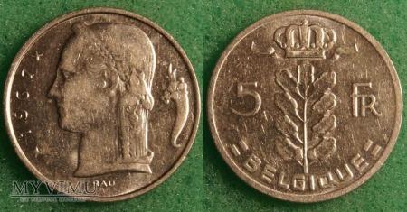 Belgia, 5 Francs 1967