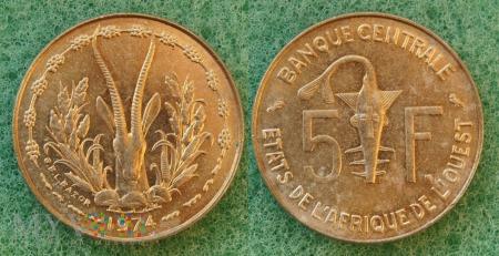 Afryka, 5 franków 1974