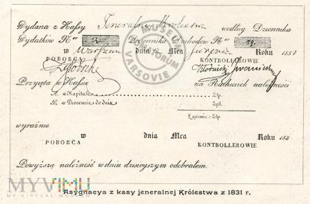 Asygnacja z kasy jeneralnej Królestwa z 1831 roku