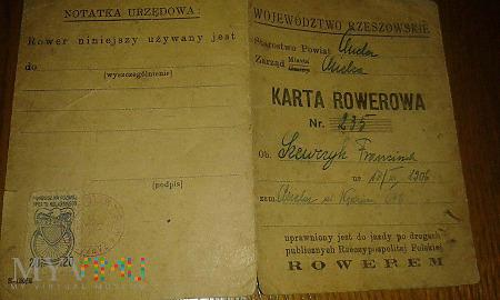 Karta rowerowa z 1949 roku