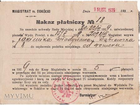 Nakaz płatniczy-Sokółka 1929.