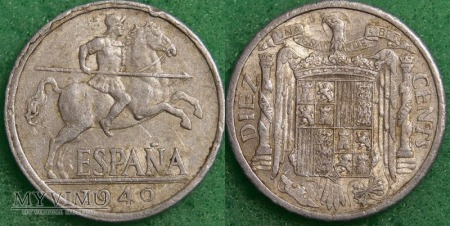 Hiszpania, 10 centów 1940