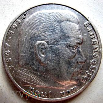 Duże zdjęcie 5 reichsmarek 1936 r. Niemcy (Trzecia Rzesza)